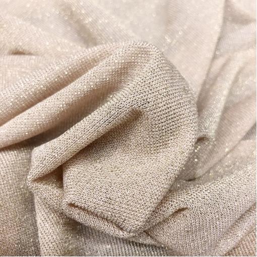 Трикотаж вискозный тонкий с нежным люрексом пыльно-лососевого цвета