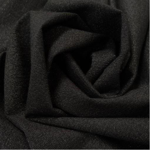 Трикотаж вискозный плательный черный с нежным черным люрексом