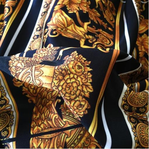 Трикотаж вискозный плотный Versace золотые вензеля и черные полосы