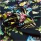 Трикотаж вискозный плательный принт букеты орхидей на черном фоне