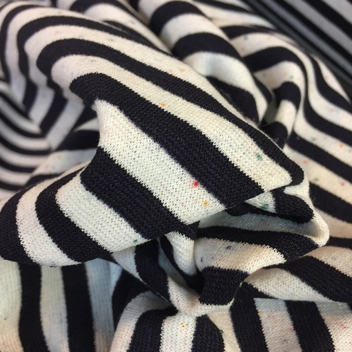 Джерси вискозное стрейч с вкраплениями черно-молочные полосы