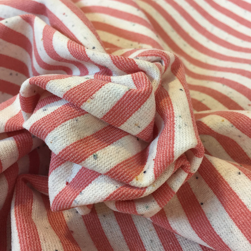 Джерси вискозное стрейч с вкраплениями розово-молочные полосы