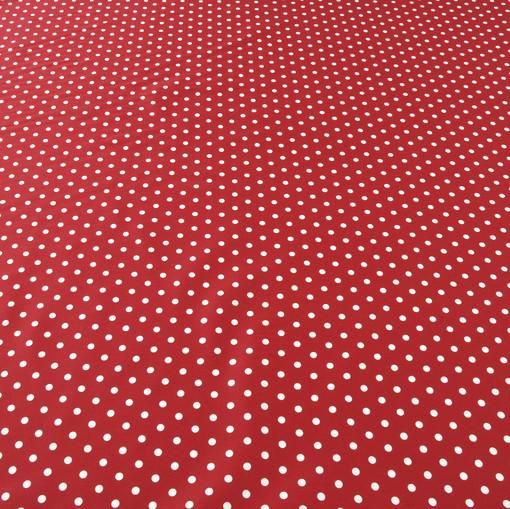 Красный костюмный хлопок стрейч в мелкий белый горох