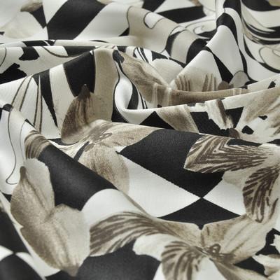 Черно-белый хлопок стрейч с геометрией и бежевыми цветами