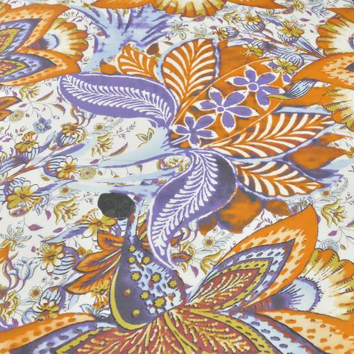 Лен белый с сиренево-оранжевым рисунком цветов