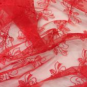Кружево на сетке красные бантики