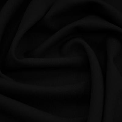 Костюмная шерсть стрейч черная гладкая