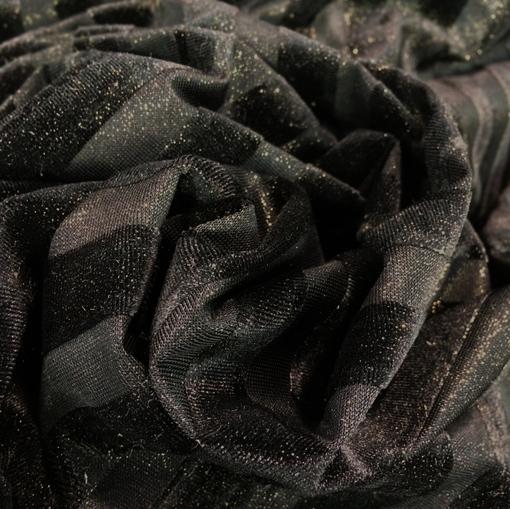 Панбархат деворе черный в продольную полоску с золотистым напылением