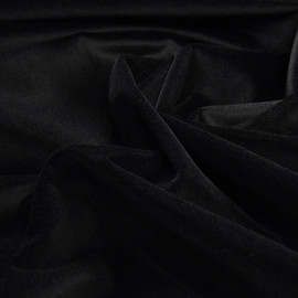 Угольно-черный хлопковый бархат стрейч