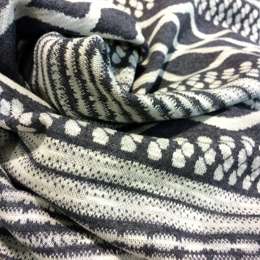 Джерси вискозное стрейч орнамент серого цвета