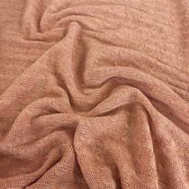Трикотаж шерстяной вязанный косами лососевого цвета