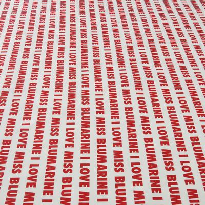 Костюмный хлопок стрейч Blumarine белый с красными буквами