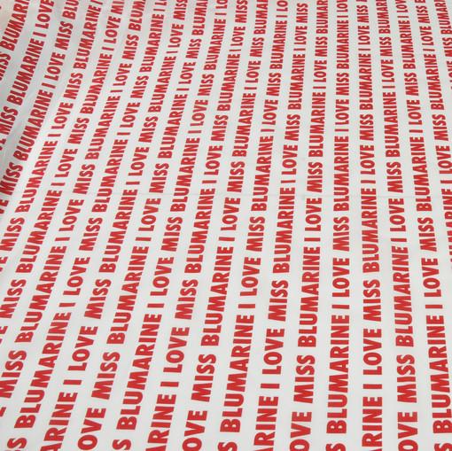 Хлопок рубашечный стрейч принт Blumarine красные буквы на белом