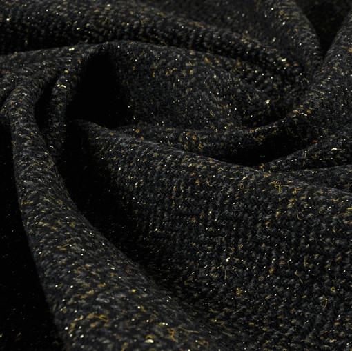 Твид-стрейч темного зеленого цвета с блеском