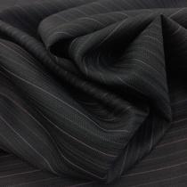 Ткань костюмная тонкая шерсть серого цвета в розовую полоску