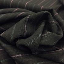 Ткань костюмная тонкая шерсть серого цвета в жаккардовую розовую полоску