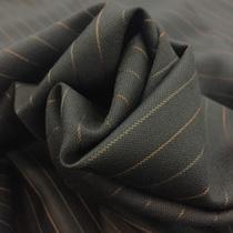 Ткань костюмная тонкая шерсть серого цвета в терракотовую полоску