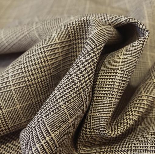 Ткань костюмная шерстяная стрейч песочно-коричневая клетка