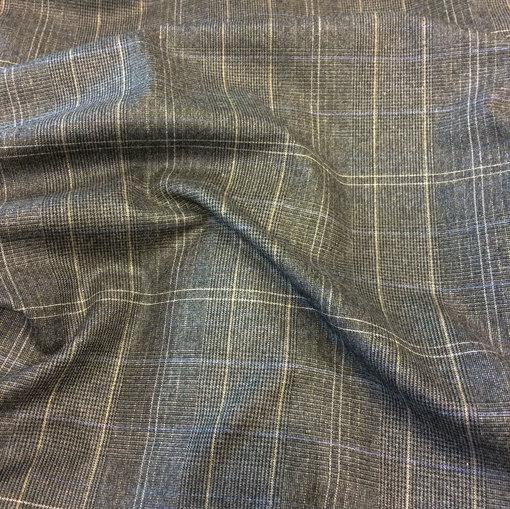 Твид костюмный стрейч крупная серо-коричневая клетка