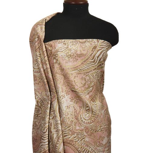 Костюмная шерсть грязно-розового цвета с золотым огуречным принтом