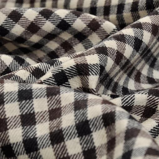 Костюмная теплая  шерсть с лайкрой черно-бело-коричневая клетка