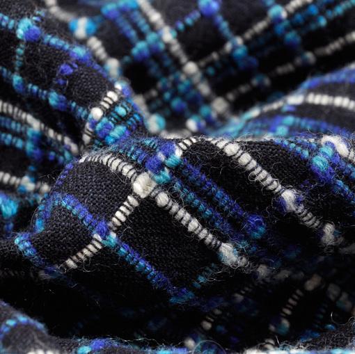 Шерсть плательная в синюю клетку