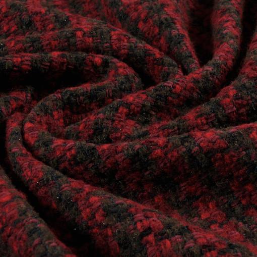 Пальтовая шанель красная с коричневым