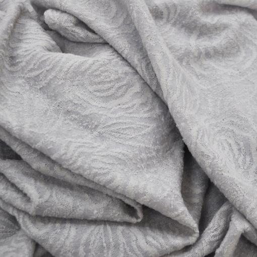 Плательный тонкий шерстяной жаккард светло-серый