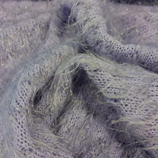 Трикотаж зимний нарядный светло-фиалковый с ворсом