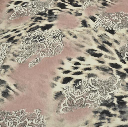 Трикотаж под ангору грязно-розовый с леопардом и кружевным рисунком