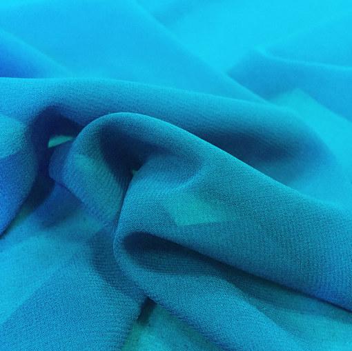 Шелк шифон стрейч голубого цвета
