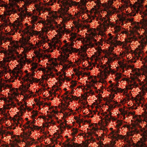 Шёлк непрозрачный принт розовые цветы на бордовом фоне