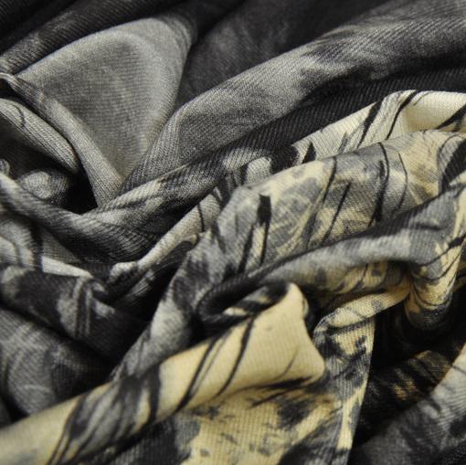 Вискозный трикотаж принт черные ветви на серо-желтом фоне
