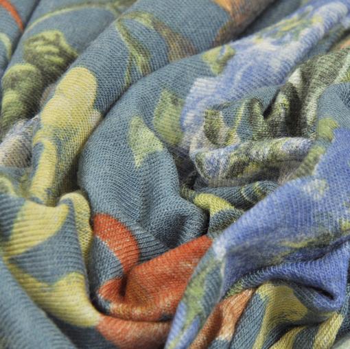 Вискозный сине-зеленый трикотаж вязанный типа ангоры  с оранжевыми цветами