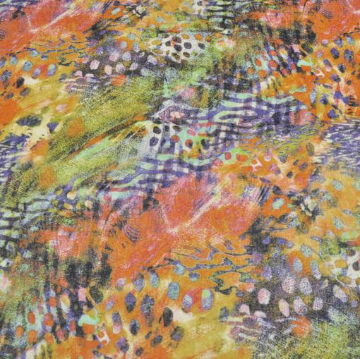 Вискозный трикотаж вязанный типа ангоры с разноцветным оранжево-зеленым рисунком
