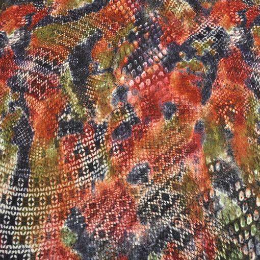 Трикотаж вискозный типа ангоры в мелкий геометрический болотно-терракотового цвета рисунок