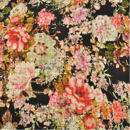 Трикотаж вискозный мягкий принт Prada цветочный узор на черном фоне