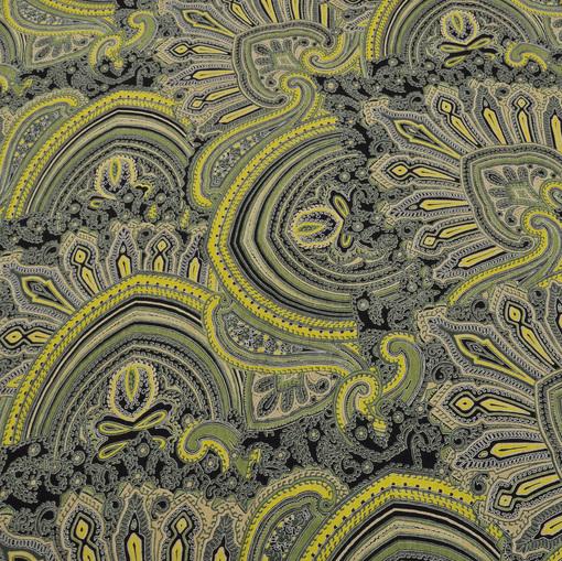 Вискозный трикотаж Etro в желто-зеленых тонах скользкий