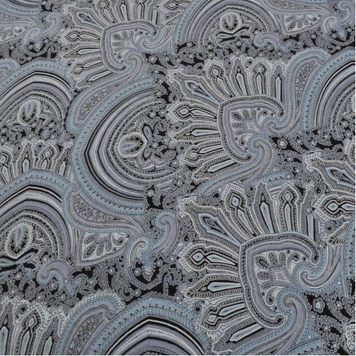 Вискозный трикотаж Etro в серо-голубых тонах скользкий