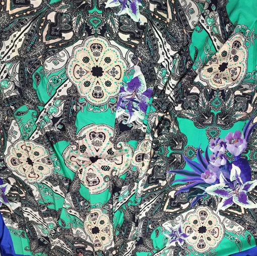 Трикотаж вискозный принт Piero Moretti сине-бирюзовый платок