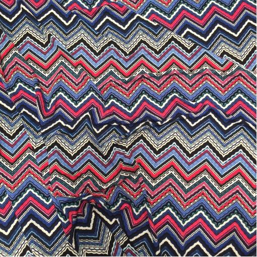 Трикотаж вискозный принт Missoni в синих тонах
