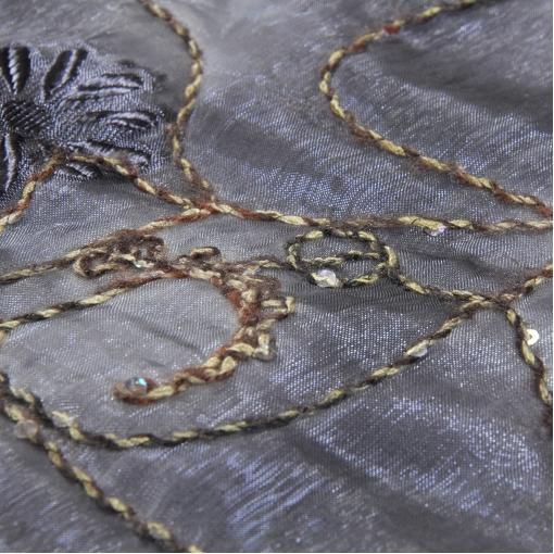 Курточная ткань с пайетками на расшитой органзе
