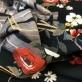 Джерси вискозное стрейч купон клетка и цветы на черном фоне