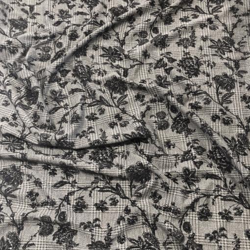 Джерси вискозное стрейч дизайн Blumarine с флоковыми цветочками