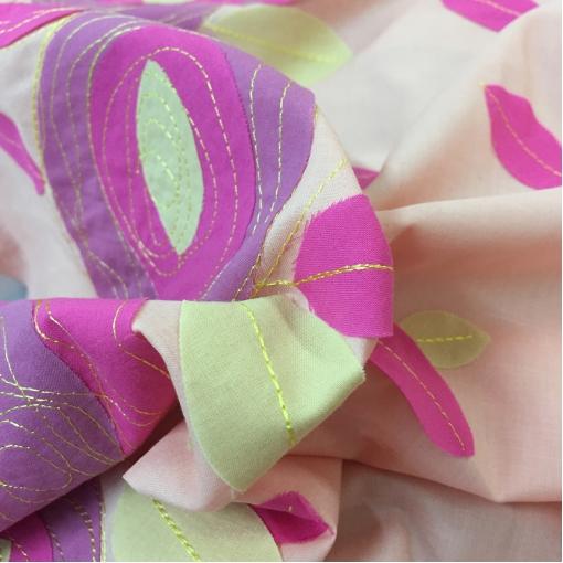 Хлопок летний двойной розового цвета Aspesi вышитые узоры