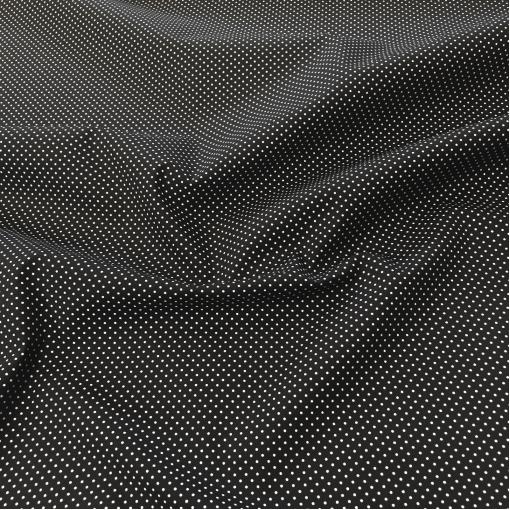 Хлопок стрейч костюмно-плательный мелкий горох на черном фоне