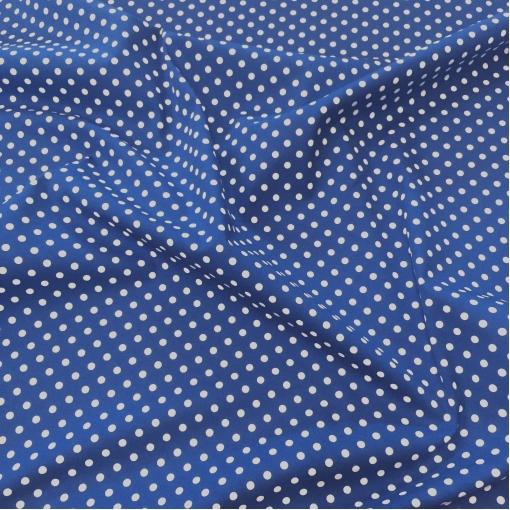 Хлопок стрейч костюмно-плательный принт средний горох 7 мм синем фоне