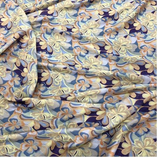 Муслин хлопок с шелком принт Alberta Ferretti стилизованные цветы в сиренево-желтой гамме