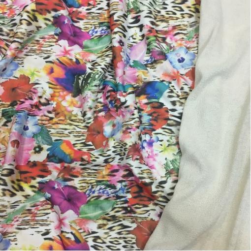 Плотный хлопок типа футера принт леопард, цветы и птицы
