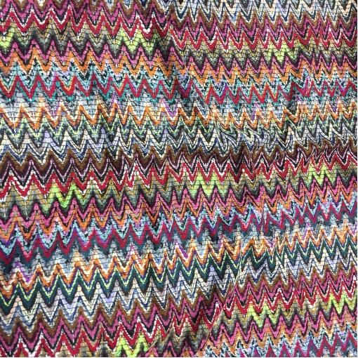Ткань нарядная костюмная Missoni плетеная разноцветные зигзаги